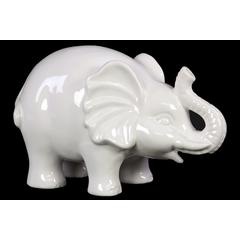 Happy & Cheerful Trumpeting Ceramic Elephant In White Large