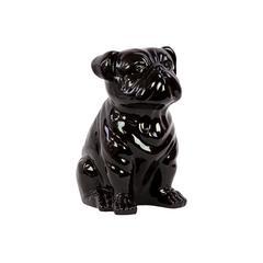 Smooth & Shiny Ceramic Sitting Bull Dog In Black