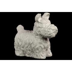 Benzara Charming, Cute & Fluffy Ceramic Dog Matte In White