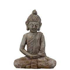 Benzara Spiritual Cement Sitting Buddha Antique Finish