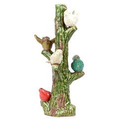 Five Cheerful & Chirping Ceramic Birds On Tree