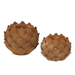 Beautiful Artichoke Replica Stone Ware Candle Holder Set Of Two In Rust Brown