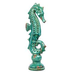 Antiquated Elegant Ceramic Sea Horse In Blue Large