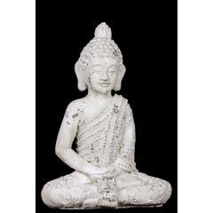 Benzara Majestic Stoneware White Attractive Sitting Buddha