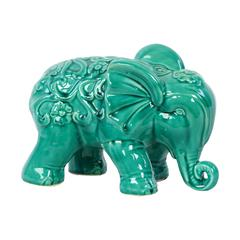 Embellished W/ Beautiful Motifs Adorable Ceramic Elephant In Turquoise