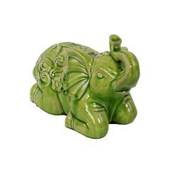 Sitting Ceramic Elephant W/ Raised Trunk Embellished - Green