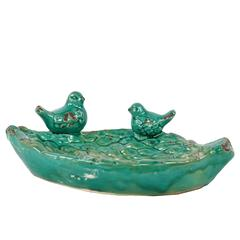 Leaf Like Design Ceramic Bird Feeder W/ Two Adorable Sitting Birds In Turquoise