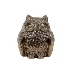 Captivating & Attractive Ceramic Hooting Owl In Gold Finish