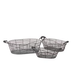 Benzara Oblong Shape Meshed Metal Basket Set Of Three Attached W/ Two Side Handle Each