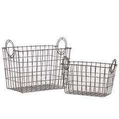 Benzara Attractive Rectangular Shape Wire Meshed Basket W/ Circular Side Handles Set Of Two