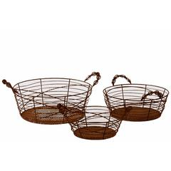 Benzara Oval Shaped Elegantly Wired Metal Basket Set Of Three Attached W/ Two Side Handle Ea
