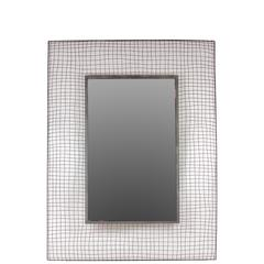 Beautiful Rectangle Shaped Metal Mirror Designed W/ Wire Meshed Metal Frame
