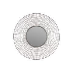 Circle Shaped Designed W/ Wire Meshed Metal Mirror