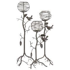 Benzara Set Of Three Charming Tree Shaped Candle Holder Set W/ Metal Birds