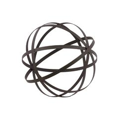 Mesmerizing Metal Sphere Showpiece In Grey 5 Flattened Circles