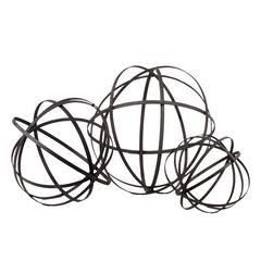Mesmerizing Showpiece Metal Sphere Of 5 Flattened Circles Set Of Three