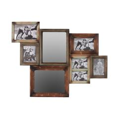 Contemporary Design Durable Wooden Multiphoto & Two Mirror Frame
