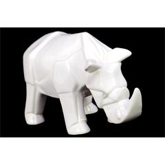 Benzara Contemporary Decor Gorgeous Ceramic Rhino In White