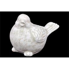 Cute Ceramic Bird Figurine In Green & White Finish