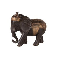 Adorable Black Resin Elephant With Golden Crown