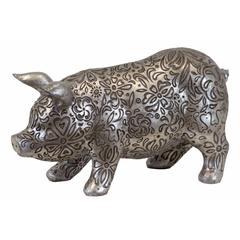 Beautifully Embellished W/ Floral Motifs & Design Resin Pig In Antique Silver Large