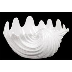 Beautiful Bowl Shape Ceramic Seashell Figurine W/ Curve Pattern In White