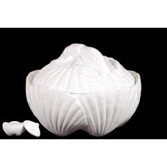 Benzara Ceramic Seashell Container W/ Magnificently Sculpted Lobster On The Lid In White