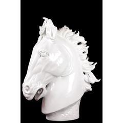 Benzara Afghanis Powerful Classy Resin Horse White