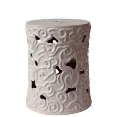 Peaceful Alluring Ceramic Garden Stool White