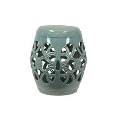 Benzara Appealing Ceramic Garden Stool Open- Work Green