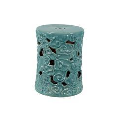 Benzara Charming Ceramic Garden Stool Turquoise