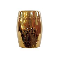 Benzara Attractive Derby's Ceramic Garden Stool Golden Finish