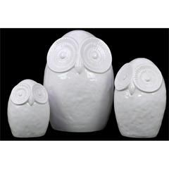Ceramic Owl Figurine W/ Big Round Eyes Set Of Three In White