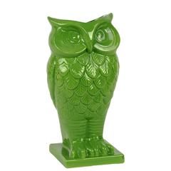 Benzara Beautiful & Spectacular Owl Design Ceramic Vase In Green