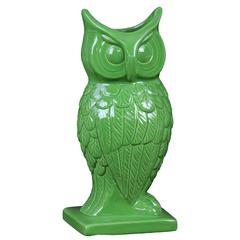 Spectacular & Magnificent Ceramic Owl Figurine Vase In Green Large