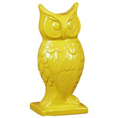 Spectacular & Magnificent Ceramic Owl Figurine Vase In Yellow Large
