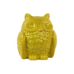 Adorable & Cute Ceramic Owl Figurine In Yellow