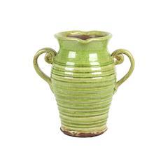Antique Ceramic Tuscan Vase In Green W/ Beautiful Ring Pattern