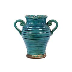 Benzara Antique Ceramic Tuscan Vase In Turquoise W/ Beautiful Ring Pattern