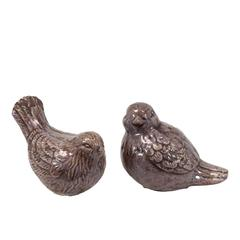 Benzara Lovely & Adorable Ceramic Bird Set Of Two In Purple