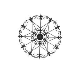 Benzara Metal Wall Medallion Decor With Fleur De Lis Design, Black