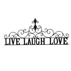 Benzara Live laugh Love Metal Wall Decor, Black