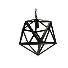 "16"" Industrial Style Polyhedron Metal Chandelier, Black"