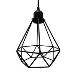 Polygon Diamond Shaped Wire Pendant Light With Black Top, Black