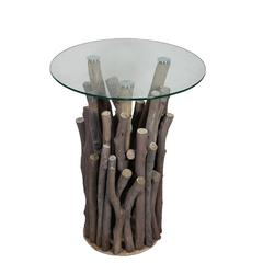 Benzara Nature Themed Round Glass Top Wooden Table