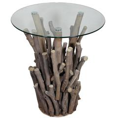 Benzara Round Glass Top Nature Themed Wooden Table