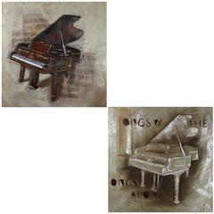 Set Of 2 Assorted Spectacular Piano Oil Painting