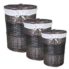 Benzara Adorable 3Pc Round Willow Hamper