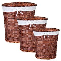 Chinese Inspired 3Pc Oval Willow Hamper