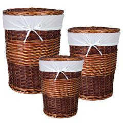 Benzara Hawaii 3Pc Round Willow Hamper